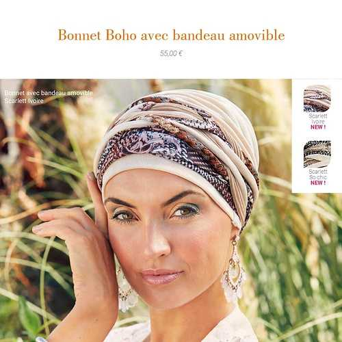 Bonnets et Foulards Boho spirit - Chimiothérapie - Collection Elite Hair - Printemps -été 2021  bohobonnetamovibleivoirescarlet1